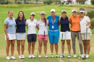 19/09/2016 Ladies European Tour 2016: Andalucía Costa del Sol Open de España Femenino, Aloha Golf Club, Marbella, Spain 22-25 Sept. Some of the Spanish players line up for a photgraph on the range, Camilla Hedberg, Marta Silva, Marta Sanz, Nuria Itturios, Marta Figueras-Dotti, Carmen Alonso, Maria Beautell and Natalia Escuriola Martinez. Credit: Tristan Jones