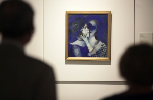 "Collection of the Russian Museum in Malaga hosts ' Chagall and his Russian contemporaries ' in the exhibition are 17 works by the master and Russian painter Marc Chagall.Esta work has the title of "" blue lovers "" 1914"
