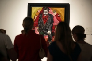 """Collection of the Russian Museum in Malaga hosts ' Chagall and his Russian contemporaries ' in the exhibition are 17 works by the master and Russian painter Marc Chagall.Esta work has the title of """"Jew in Red """" 1915"""