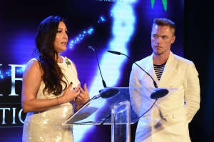 15th October 2016 Global Gift Gala diner hosted by Ronan Keating and Maria Bravo, held at Gran Malia Don Pepe, Marbella, Spain Here: Maria Bravo and Ronan Keating Credit: Justin Goff/Global Gift Foundation