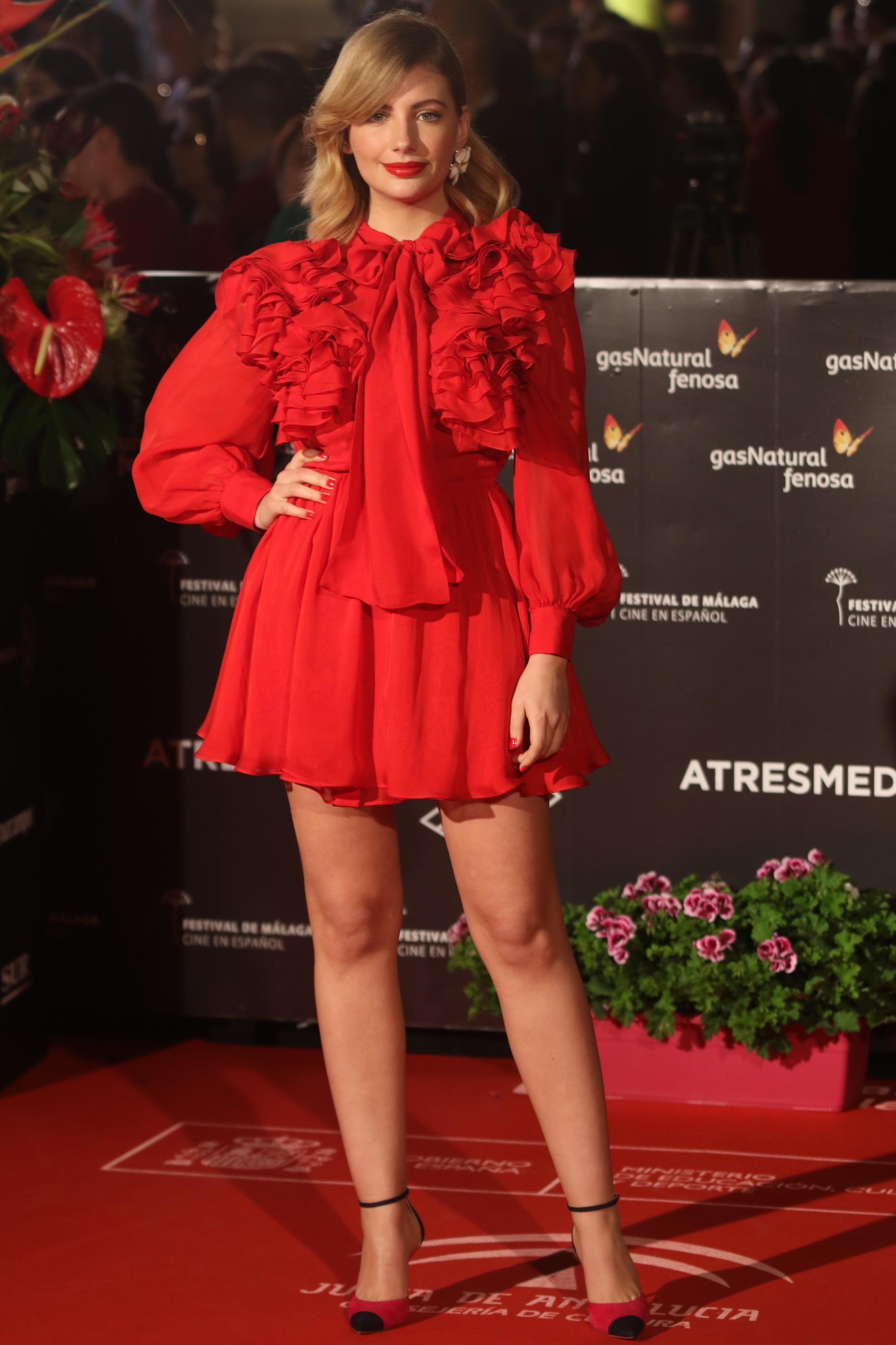 Miriam Giovanelli pasea por la alfombra roja del festival de cine de Málaga en español en la 20 edición el sábado