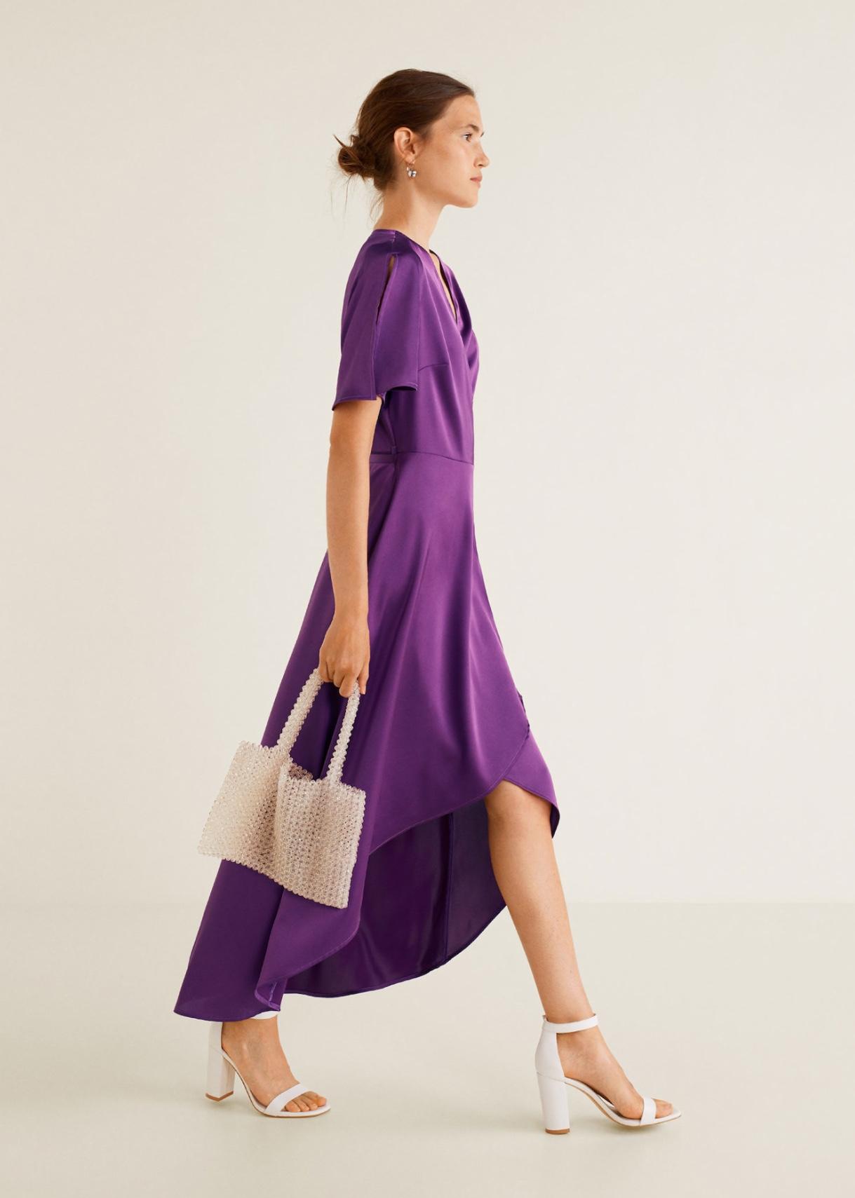 vestido cruzado lazo mango outlet