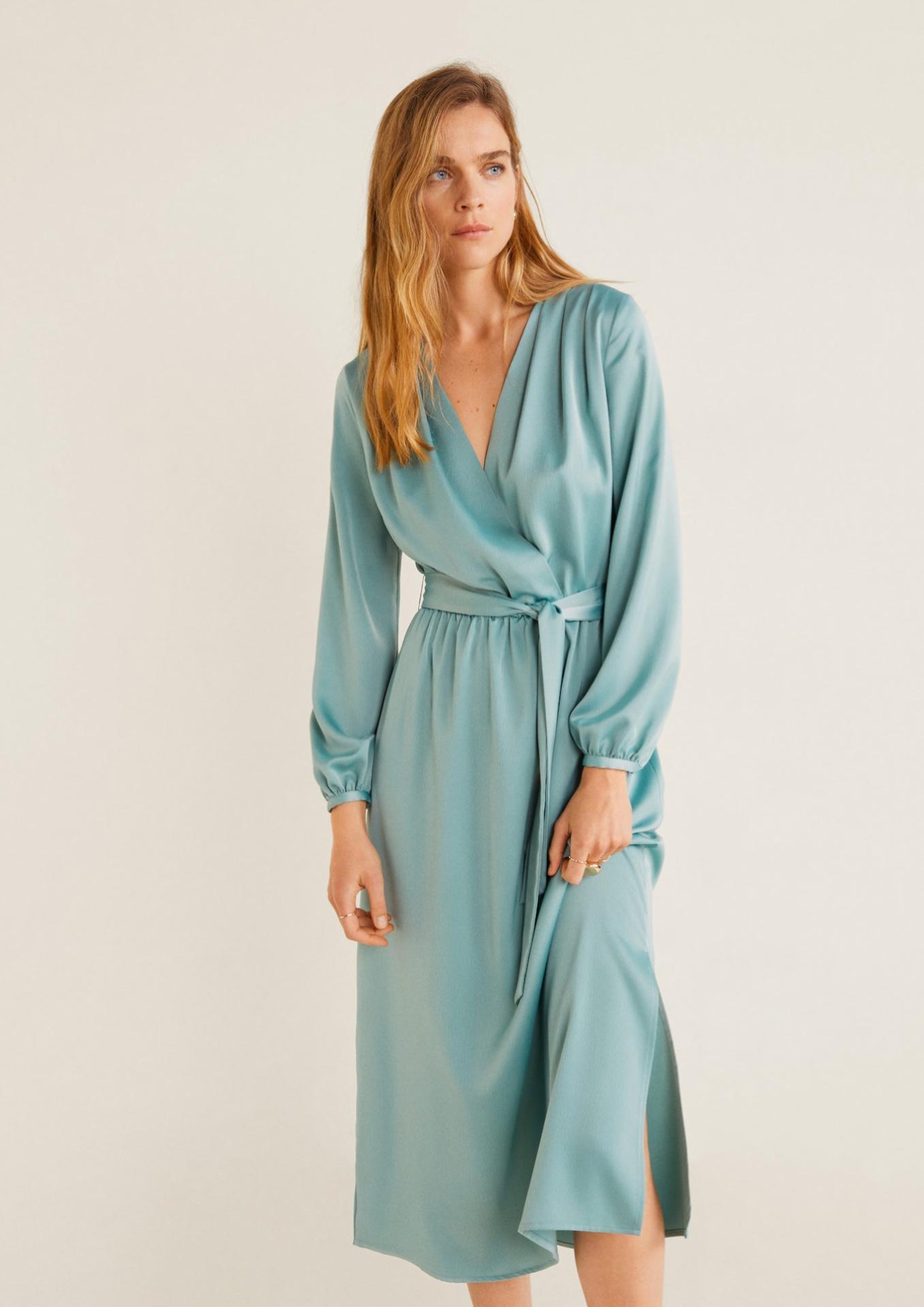 vestido satinado lazo mango outlet