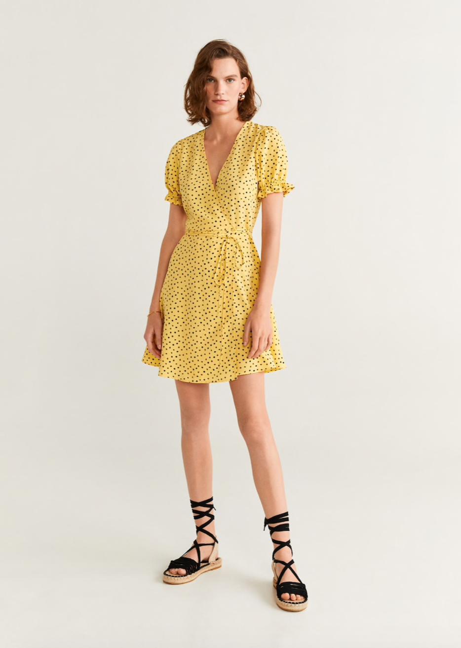 vestido cruzado lunares mango