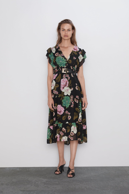 Vestido estampado floral de Zara