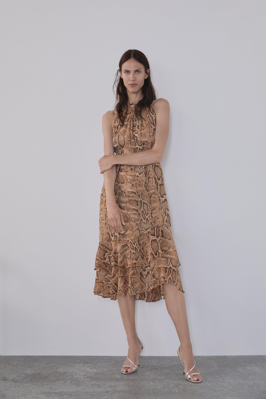 vestido estampado serpiente zara